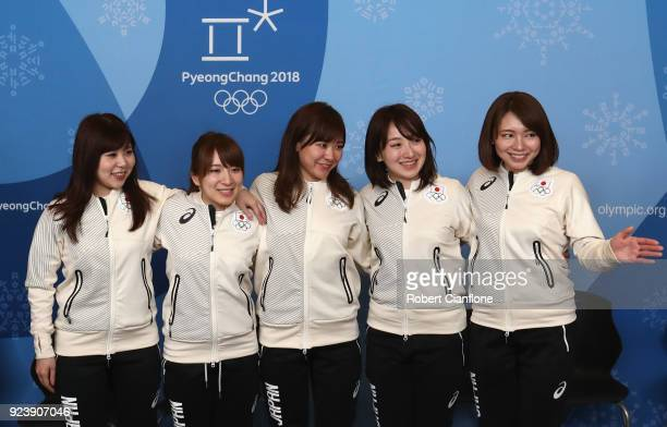 Yurika Yoshida, Yumi Suzuki, Chinami Yoshida, Satsuki Fujisawa and Mari Motohashi of Japan are seen during a Japan Women's Curling team press...