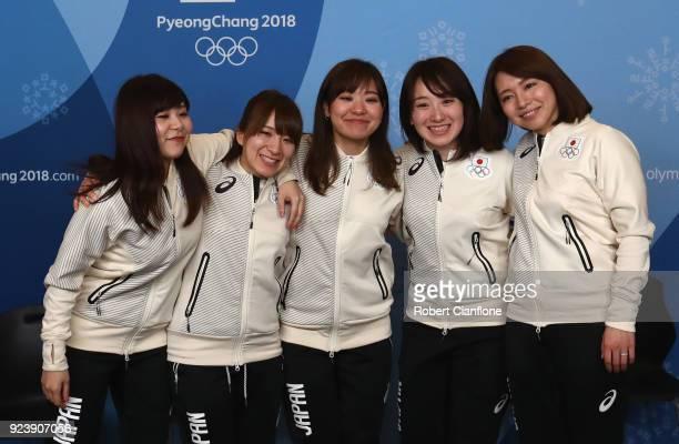 Yurika Yoshida Yumi Suzuki Chinami Yoshida Satsuki Fujisawa and Mari Motohashi of Japan are seen during a Japan Women's Curling team press conference...