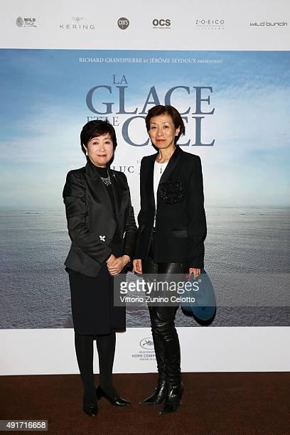 Yuriko Koike and guest attend the 'La Glace et le Ciel' Paris Premiere at Gaumont ChampsElysees on October 7 2015 in Paris France