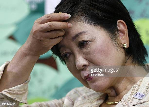 Yuriko Koike former Japanese Defense Minister and a candidate for the Tokyo governor gestures during a news conference after winning the Tokyo...