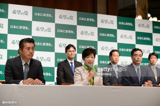 Yuriko Koike governor of Tokyo and head of the Party of Hope center speaks during a news conference in Tokyo Japan on Wednesday Sept 27 2017 A new...