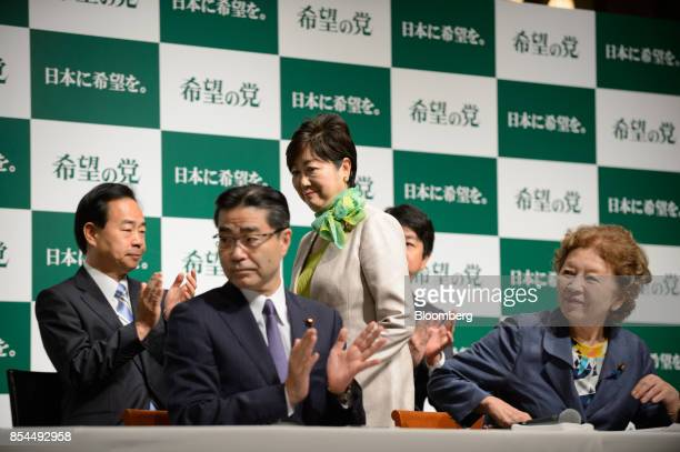 Yuriko Koike governor of Tokyo and head of the Party of Hope center arrives for a news conference in Tokyo Japan on Wednesday Sept 27 2017 A new...