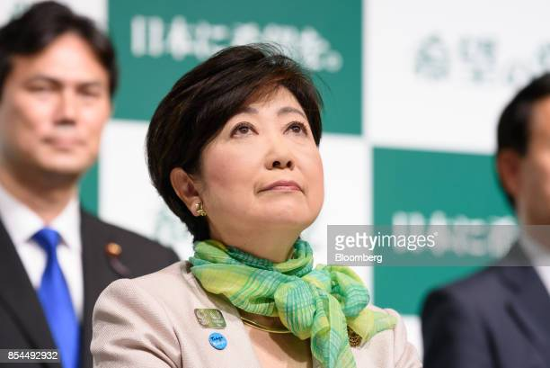 Yuriko Koike governor of Tokyo and head of the Party of Hope looks up during a news conference in Tokyo Japan on Wednesday Sept 27 2017 A new...