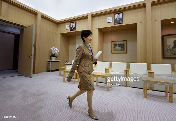 Yuriko Koike governor of Tokyo arrives for a Bloomberg Television interview in Tokyo Japan on Thursday Sept 8 2016 Koike who ran against her own...