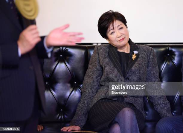 Yuriko Koike governor of Tokyo attends the Premium Friday kickoff event inside Cafe 1894 at the Mitsubishi Ichibankan Museum in Tokyo Japan on Friday...