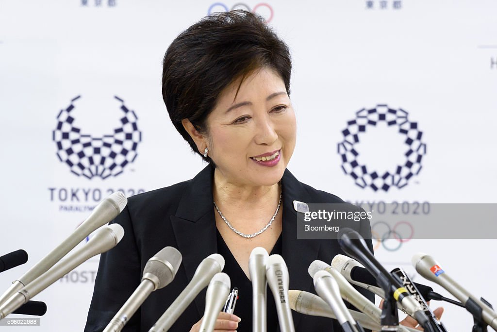 Yuriko Koike, governor of Tokyo, listens during a news conference in Tokyo, Japan, on Wednesday, Aug. 31, 2016. Koike told reporters that the move of the iconic Tsukiji fish market to a new site in Toyosu will be postponed. Photographer: Akio Kon/Bloomberg via Getty Images