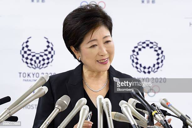 Yuriko Koike governor of Tokyo listens during a news conference in Tokyo Japan on Wednesday Aug 31 2016 Koike told reporters that the move of the...