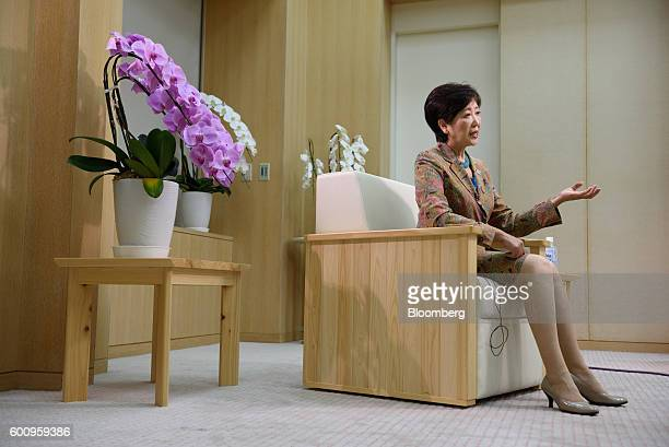 Yuriko Koike governor of Tokyo speaks during a Bloomberg Television interview in Tokyo Japan on Thursday Sept 8 2016 Koike who ran against her own...
