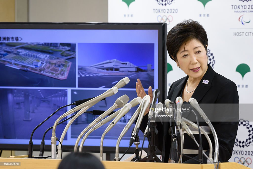 Yuriko Koike, governor of Tokyo, speaks during a news conference in Tokyo, Japan, on Wednesday, Aug. 31, 2016. Koike told reporters that the move of the iconic Tsukiji fish market to a new site in Toyosu will be postponed. Photographer: Akio Kon/Bloomberg via Getty Images