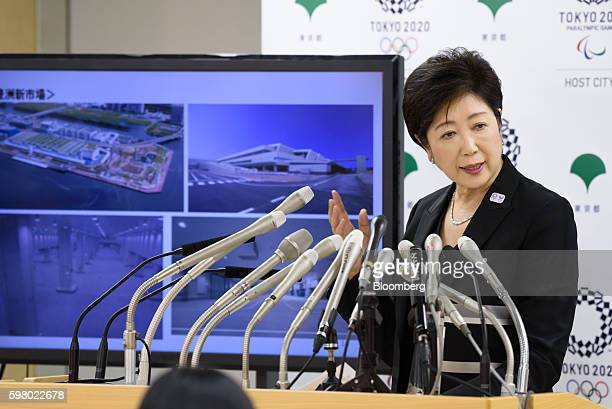 Yuriko Koike governor of Tokyo speaks during a news conference in Tokyo Japan on Wednesday Aug 31 2016 Koike told reporters that the move of the...