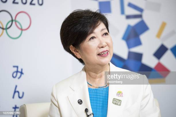 Yuriko Koike governor of Tokyo speaks during an interview in Tokyo Japan on Monday Aug 20 2018 Tokyo's highest official is casting doubt on...