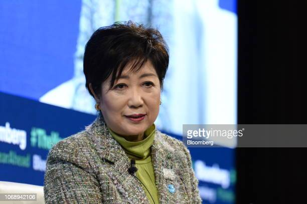 Yuriko Koike governor of Tokyo speaks during the Bloomberg Year Ahead summit in Tokyo Japan on Thursday Dec 6 2018 The summit addresses the most...