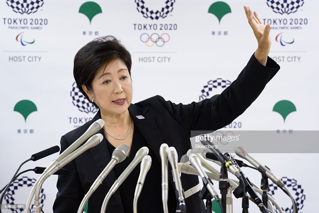 Yuriko Koike, governor of Tokyo, takes questions at a news conference in Tokyo, Japan, on Wednesday, Aug. 31, 2016. Koike told reporters that the move of the iconic Tsukiji fish market to a new site in Toyosu will be postponed. Photographer: Akio Kon/Bloomberg via Getty Images