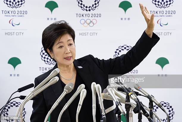 Yuriko Koike governor of Tokyo takes questions at a news conference in Tokyo Japan on Wednesday Aug 31 2016 Koike told reporters that the move of the...