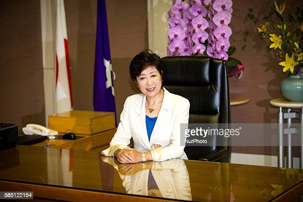 Yuriko Koike newly elected governor of Tokyo posed for the press as she sits in her office on the first day of duty as a Tokyo Governor at Tokyo...