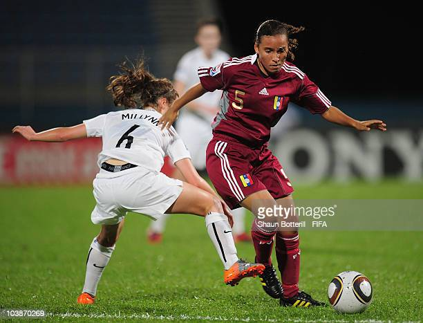 Yurimar Toledo of Venzuela is challenged by Evie Millynn of New Zealand during the FIFA U17 Women's World Cup Group C match between New Zealand and...