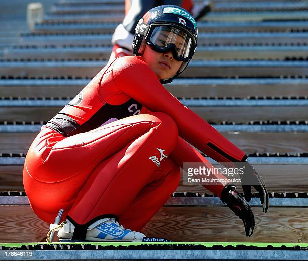 Yurina Yamada of Japan gets ready to comete in the FIS Ski Jumping Grand Prix Womens Normal Hill Individual training session on August 15 2013 in...