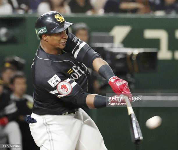 Yurisbel Gracial of the SoftBank Hawks hits a three-run home run in the fourth inning of Game 4 of the Japan Series championship against the Yomiuri...