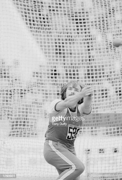 Yuriv Sedykh of Russia in action during the Hammer Throw event at the European Championships in Prague, Czechoslovakia. Sedykh won the gold medal...