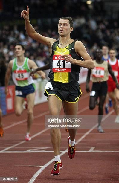 Yuriy Borzakowsky of Russia celebrates after the 800 meters during the Sparkassen Cup 2008 at the Hanns-Martin Schleyer Hall on February 2, 2008 in...