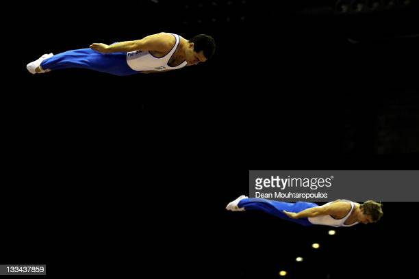Yuriy Niktin and Maksym Volianskyi of Ukraine compete in the Synchronized Trampoline Mens Qualification during the 28th Trampoline and Tumbling World...