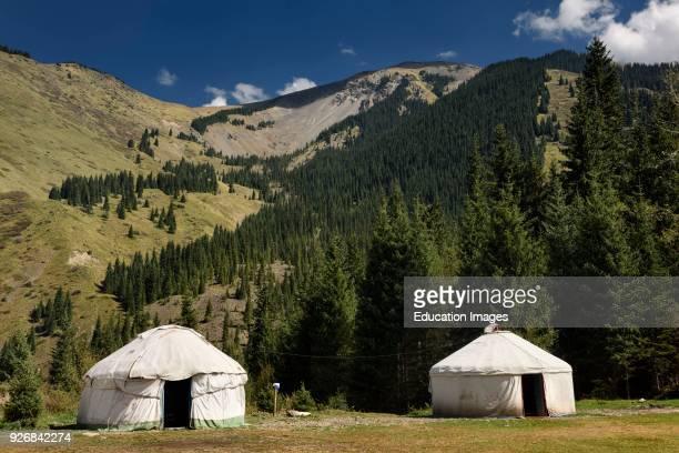Yurt tents at campground of Kaindy Lake in the Kungey AlaTau mountains of Kazakhstan