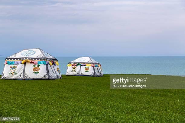 Yurts and Qinghai lake in Qinghai province, China