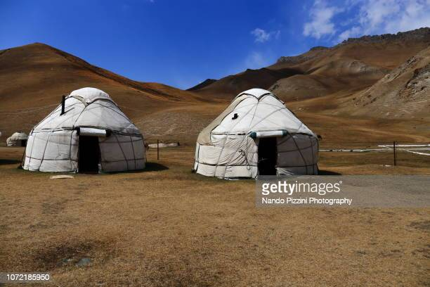 yurts and sky - yurt stock pictures, royalty-free photos & images