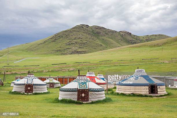 Yurts at the Chinggis Khaan Khuree Ger camp close to Ulan Bator on July 06 in Ulan Bator Mongolia Chinggis Khaan Khuree Ger camp is a tourist camp...