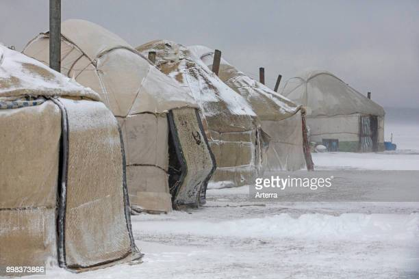 Yurts in traditional Kyrgyz yurt camp during snow storm along Song Kul / Song Kol lake in the Tian Shan Mountains Naryn Province Kyrgyzstan