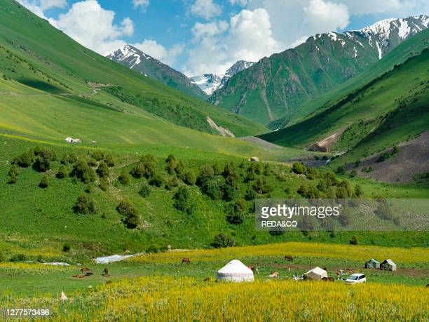 Yurts near Ala Bel Pass mountain pass. The Tien Shan Highway. Connecting Bishkek with Osh. In the Tien Shan or heavenly mountains. Asia. Central...