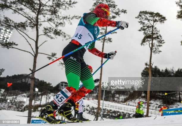 Yury Astapenka ofBelarus at Men's 15km 15km Skiathlon at olympics at Alpensia cross country stadium Pyeongchang South Korea on February 11 2018...