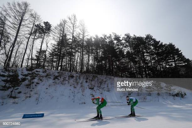 Yury Holub and his guide Dzmitry Budzilovich of Belarus compete in the Men's Cross Country 20km Free Visually Impaired event at Alpensia Biathlon...