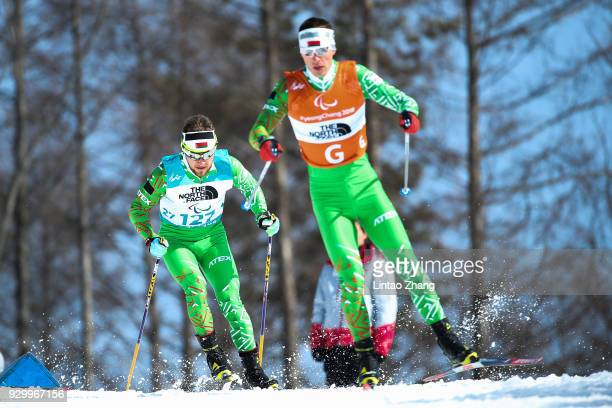 Yury Holub of Belarus competes in the Men's 75km Visually Impaired Biathlon event at Alpensia Biathlon Centre during day one of the PyeongChang 2018...