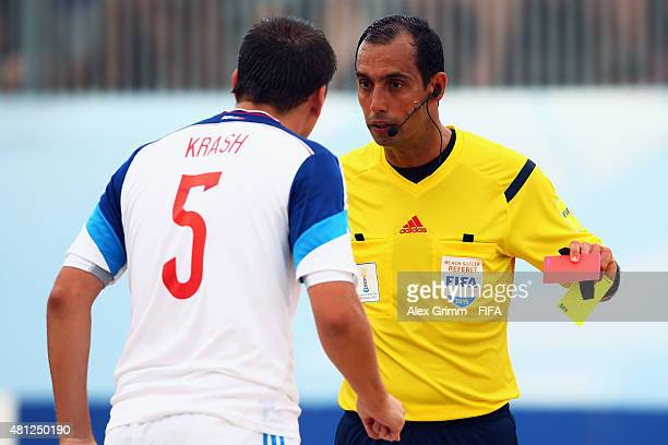Yury Krasheninnikov of Russia is sent off by the referee during the FIFA Beach Soccer World Cup Portugal 2015 Semifinal match between Portugal and...