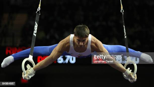 Yury Ryazanov of Russia competes in the rings exercise during the 2009 Tyson American Cup at the Sears Centre on February 21 2009 in Hoffman Estates...