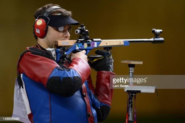Yury Shcherbatsevich of Belarus competes during the Men's 50m Rifle 3 Positions Shooting Final on Day 10 of the London 2012 Olympic Games at the...