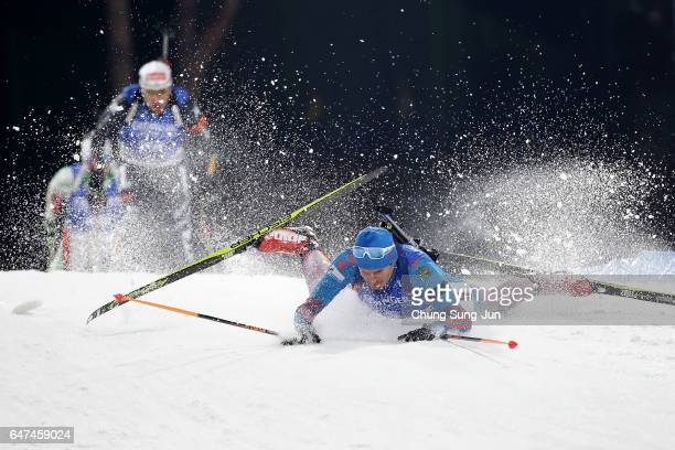 Yury Shopin of Russia falls in the Men 10km Sprint during the BMW IBU World Cup Biathlon 2017 test event for PyeongChang 2018 Winter Olympic Games at...