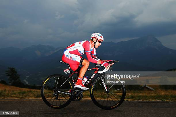 Yury Trofimov of Russia and Katusha Team rides during stage seventeen of the 2013 Tour de France, a 32KM Individual Time Trial from Embrun to...