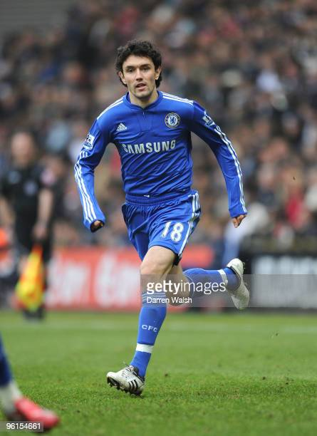Yury Zhirkov of Chelsea during the FA Cup sponsored by EON Fourth round match between Preston North End and Chelsea at Deepdale on January 23 2010 in...