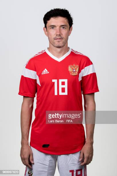 Yury Zhirkov of Russia poses for a portrait during the official FIFA World Cup 2018 portrait session at Federal Sports Centre Novogorsk on June 8...