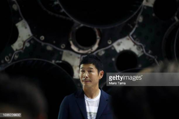 Yusaka Maezawa the Japanese billionaire chosen by SpaceX CEO Elon Musk to fly around the moon listens to a question on September 17 2018 in Hawthorne...