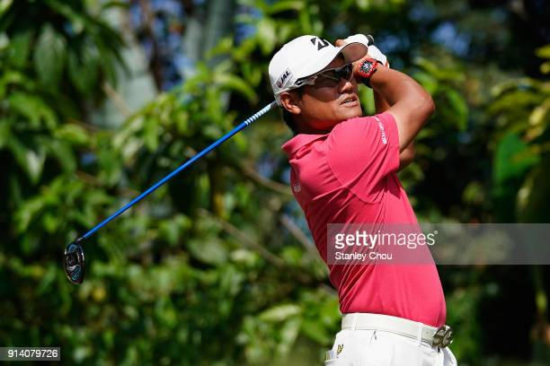 Yusaka Miyazato of Japan in action during day four of the Maybank Championship Malaysia at Saujana Golf and Country Club on February 4 2018 in Kuala...