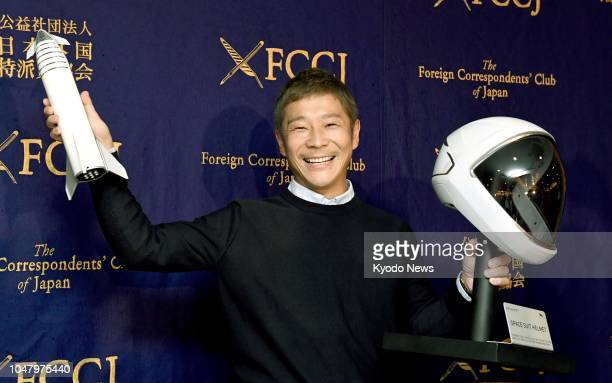 Yusaku Maezawa CEO of Zozo Inc which operates online clothing store Zozotown poses for photos at the Foreign Correspondents' Club of Japan in Tokyo...
