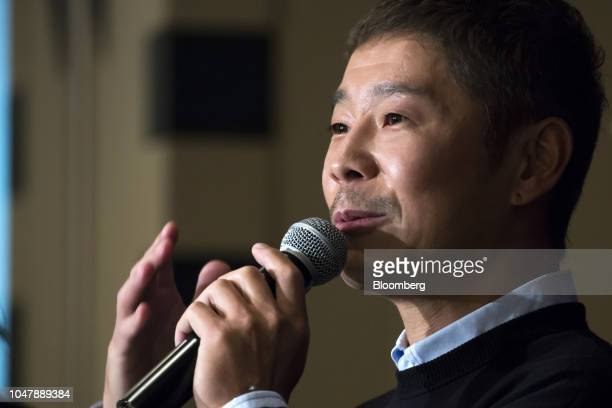 Yusaku Maezawa chief executive officer of Zozo Inc speaks during a news conference at the Foreign Correspondents' Club of Japan in Tokyo Japan on...