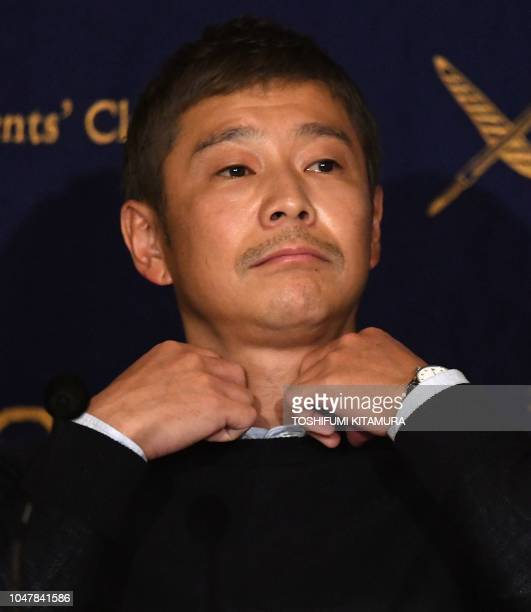 Yusaku Maezawa entrepreneur and CEO of ZOZOTOWN and SpaceX BFR's first private passenger prepares for a press conference at the Foreign...
