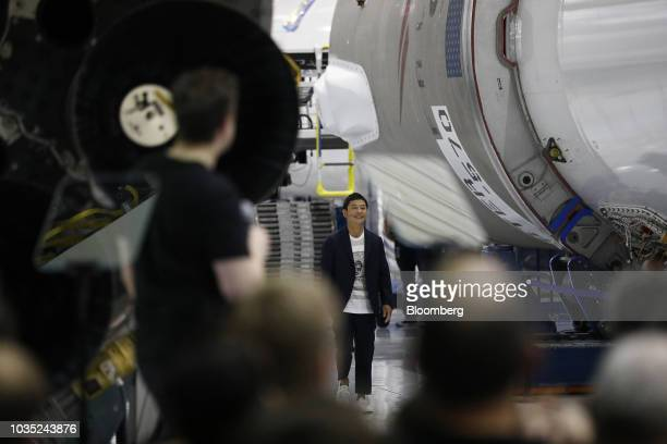 Yusaku Maezawa founder and president of Start Today Co arrives for an event at the SpaceX headquarters in Hawthorne California US on Monday Sept 17...
