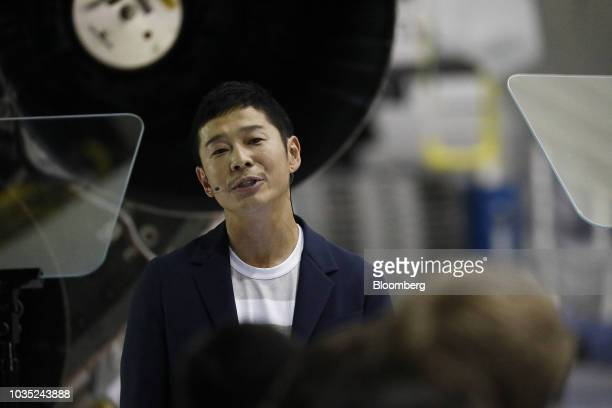 Yusaku Maezawa founder and president of Start Today Co speaks during an event at the SpaceX headquarters in Hawthorne California US on Monday Sept 17...