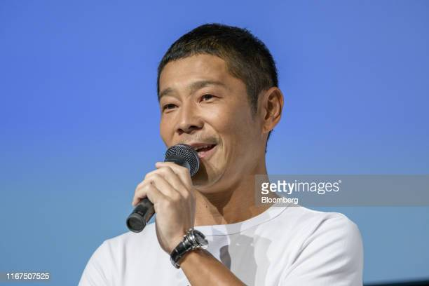 Yusaku Maezawa founder of Zozo Inc speaks during a news conference in Tokyo Japan on Thursday Sept 12 2019 Yahoo Japan Corps surprise plan to buy a...