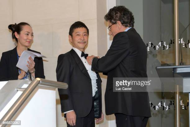 Yusaku Maezawa is awarded by former ministre of Culture Jack Lang during Yusaku Maezawa Patrick Seguin Awarded Chevalier Des Arts et Lettres on March...